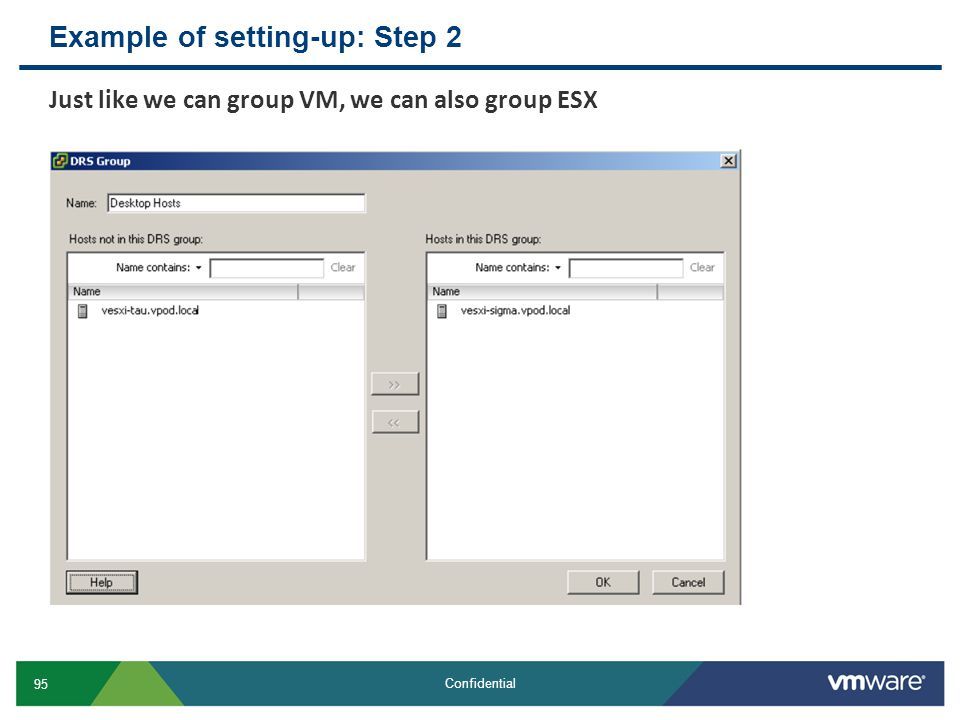 Example of setting-up: Step 2