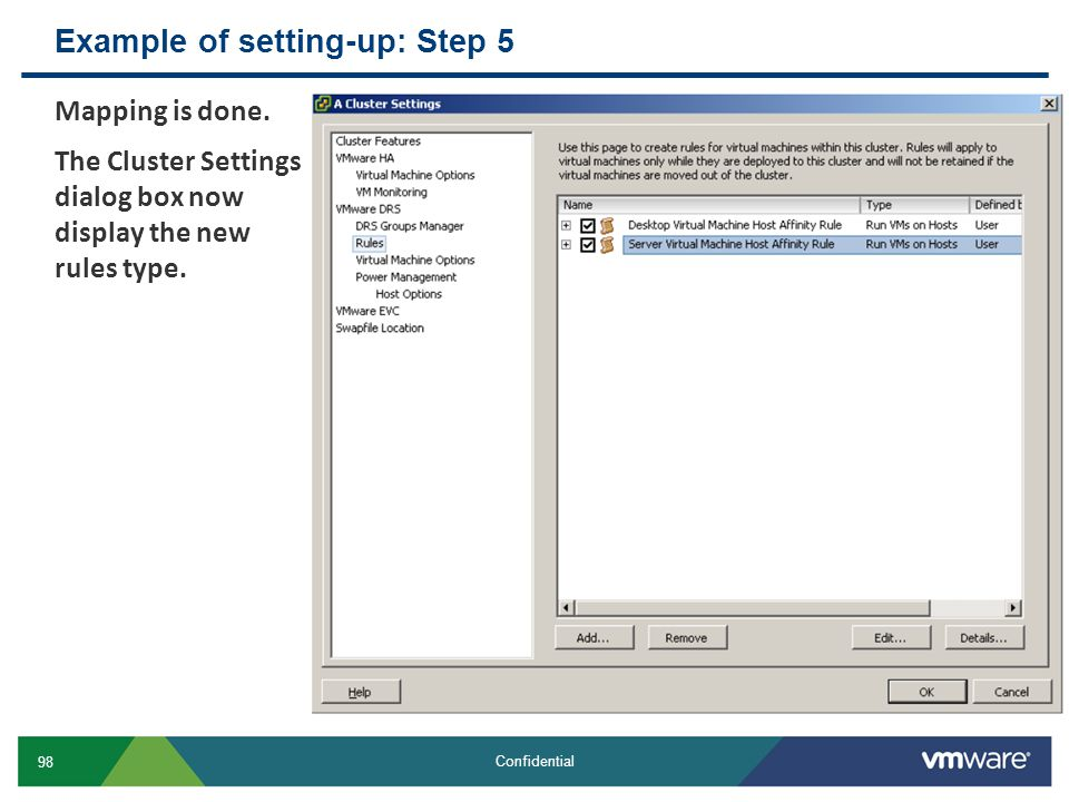 Example of setting-up: Step 5