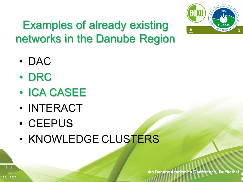Examples of already existing networks in the Danube Region