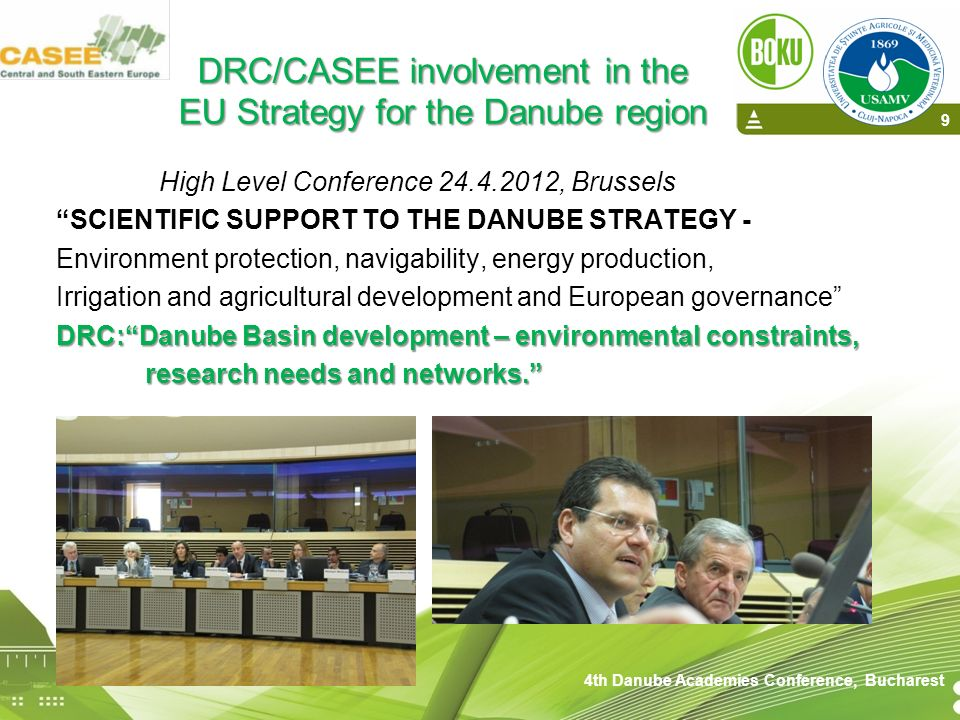 DRC/CASEE involvement in the EU Strategy for the Danube region