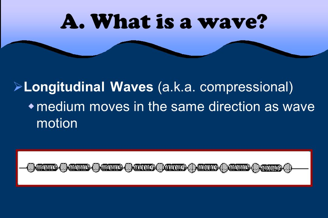 A. What is a wave Longitudinal Waves (a.k.a. compressional)