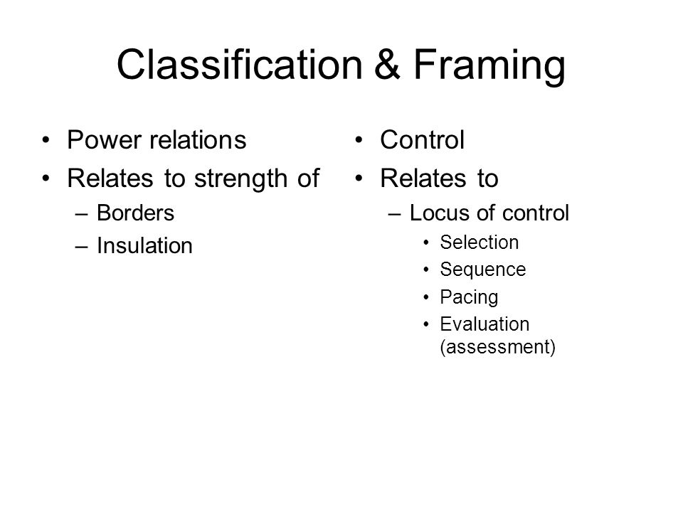 Classification & Framing