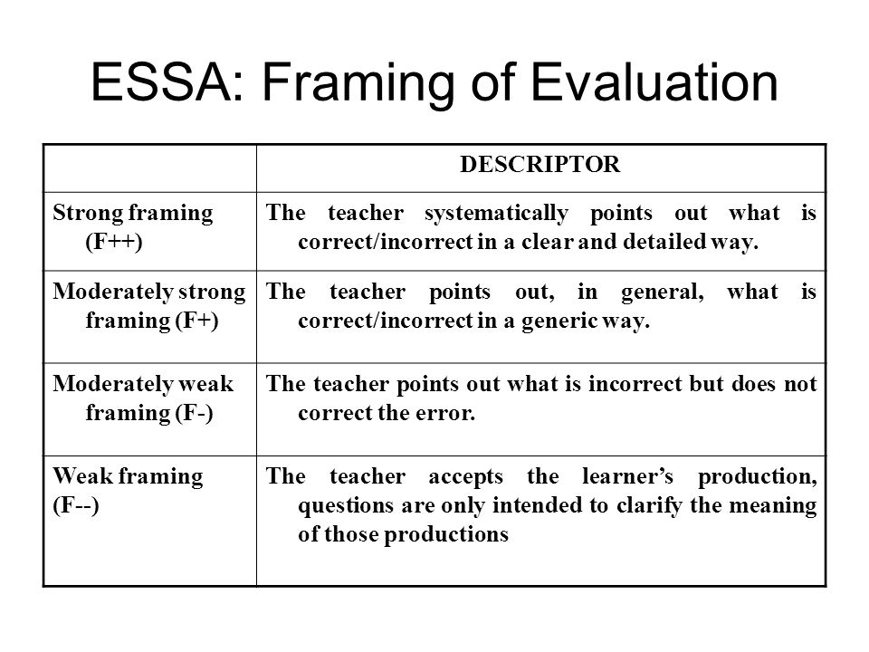 ESSA: Framing of Evaluation