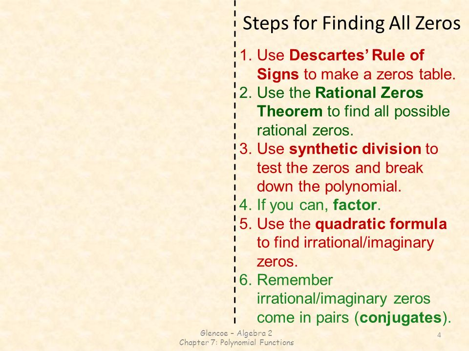 7-5 Roots and Zeros 7-6 Rational Zero Theorem - ppt video
