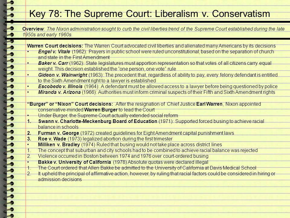 Key 78: The Supreme Court: Liberalism v. Conservatism