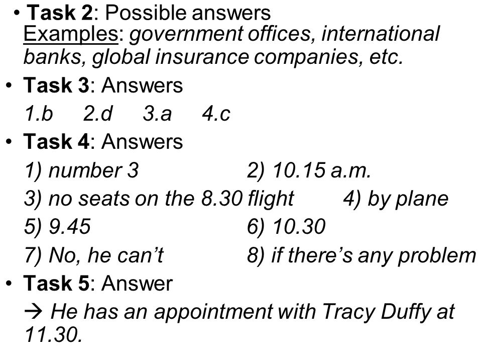 Task 2: Possible answers
