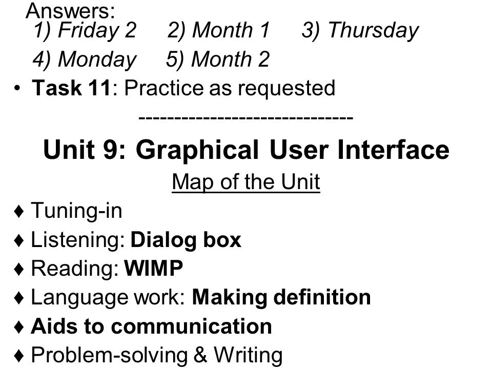 Unit 9: Graphical User Interface