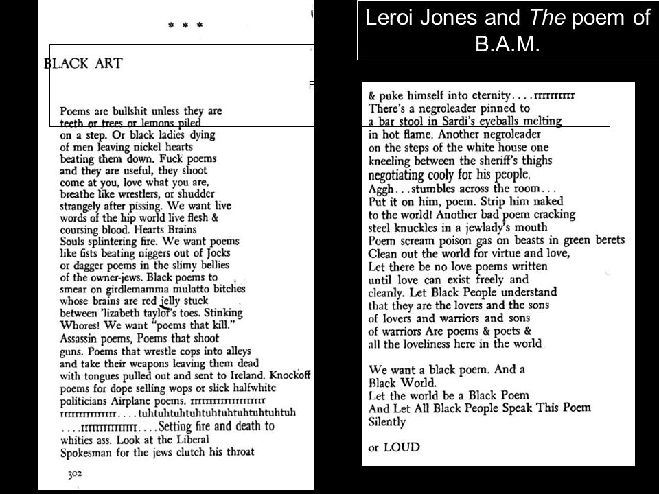 Leroi Jones and The poem of B.A.M.