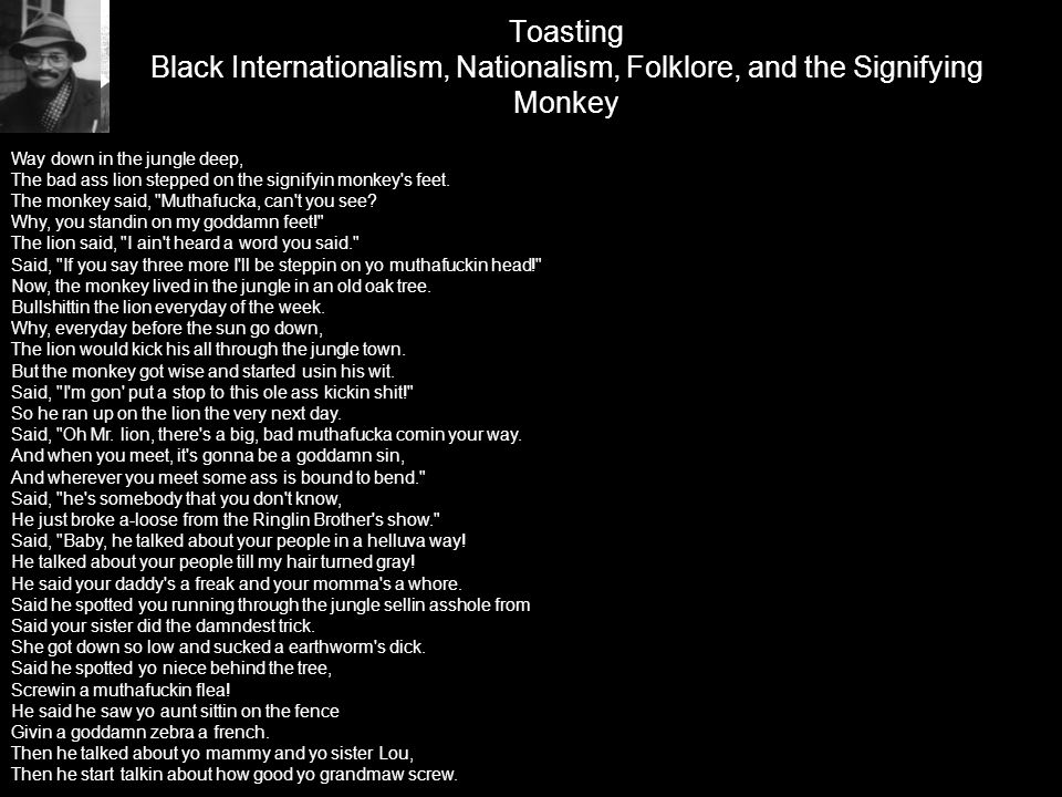 Toasting Black Internationalism, Nationalism, Folklore, and the Signifying Monkey