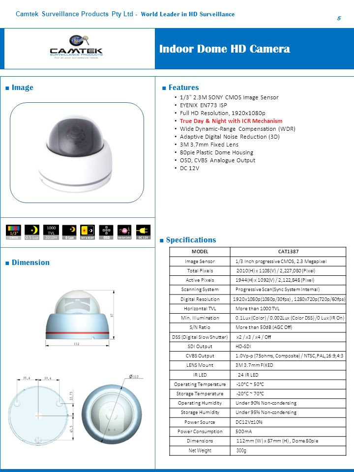 Indoor Dome HD Camera ■ Image ■ Features ■ Specifications ■ Dimension