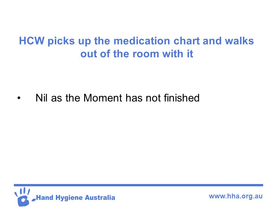 HCW picks up the medication chart and walks out of the room with it