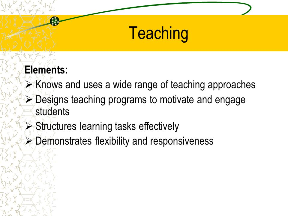 Teaching Elements: Knows and uses a wide range of teaching approaches