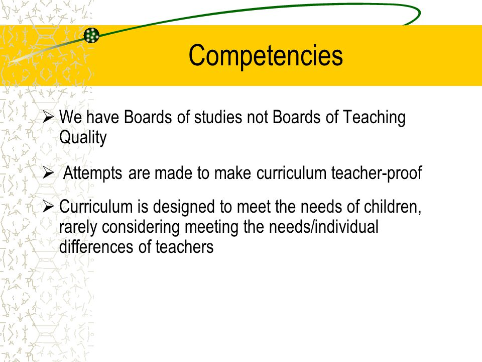 Competencies We have Boards of studies not Boards of Teaching Quality