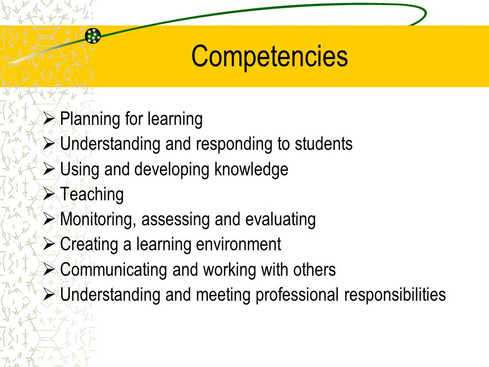 Competencies Planning for learning