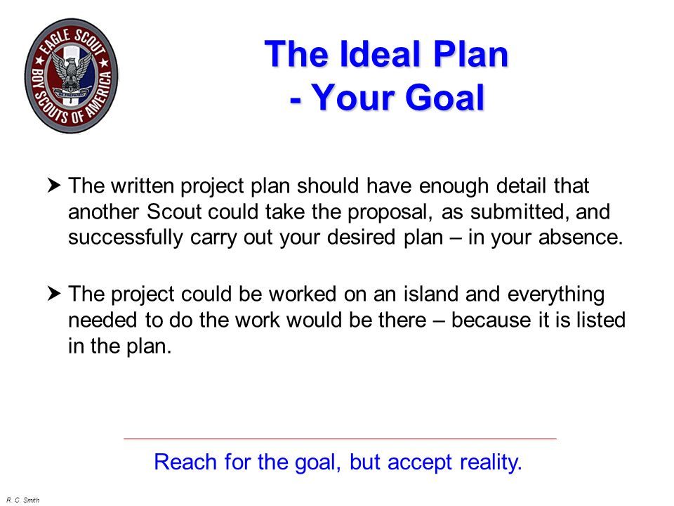 The Ideal Plan - Your Goal