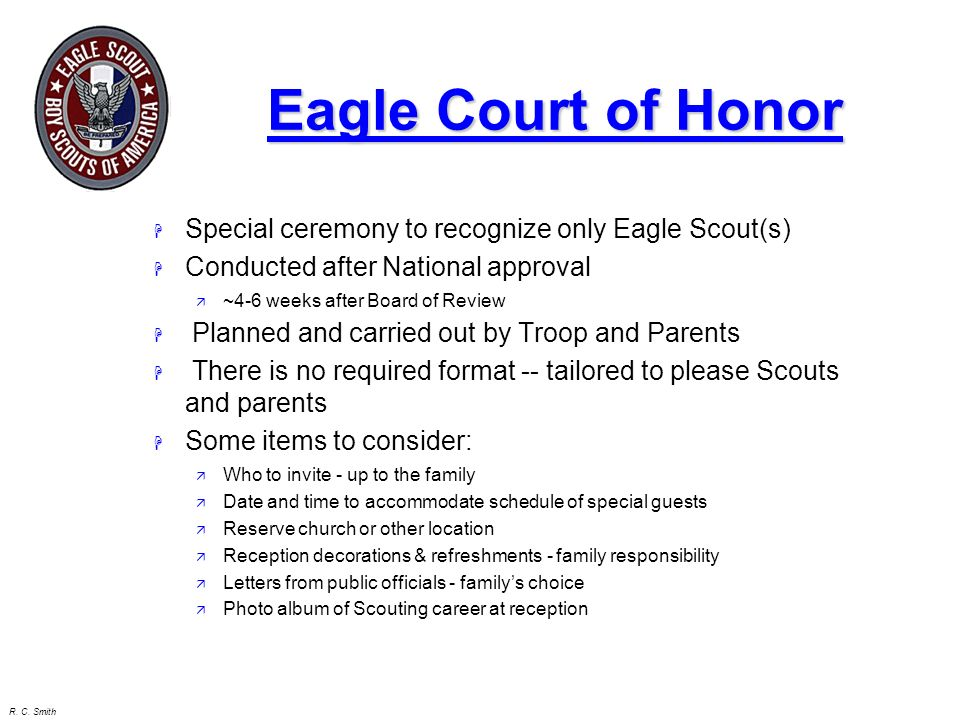 Eagle Court of Honor Special ceremony to recognize only Eagle Scout(s)