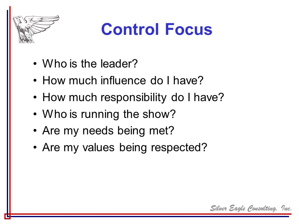 Control Focus Who is the leader How much influence do I have