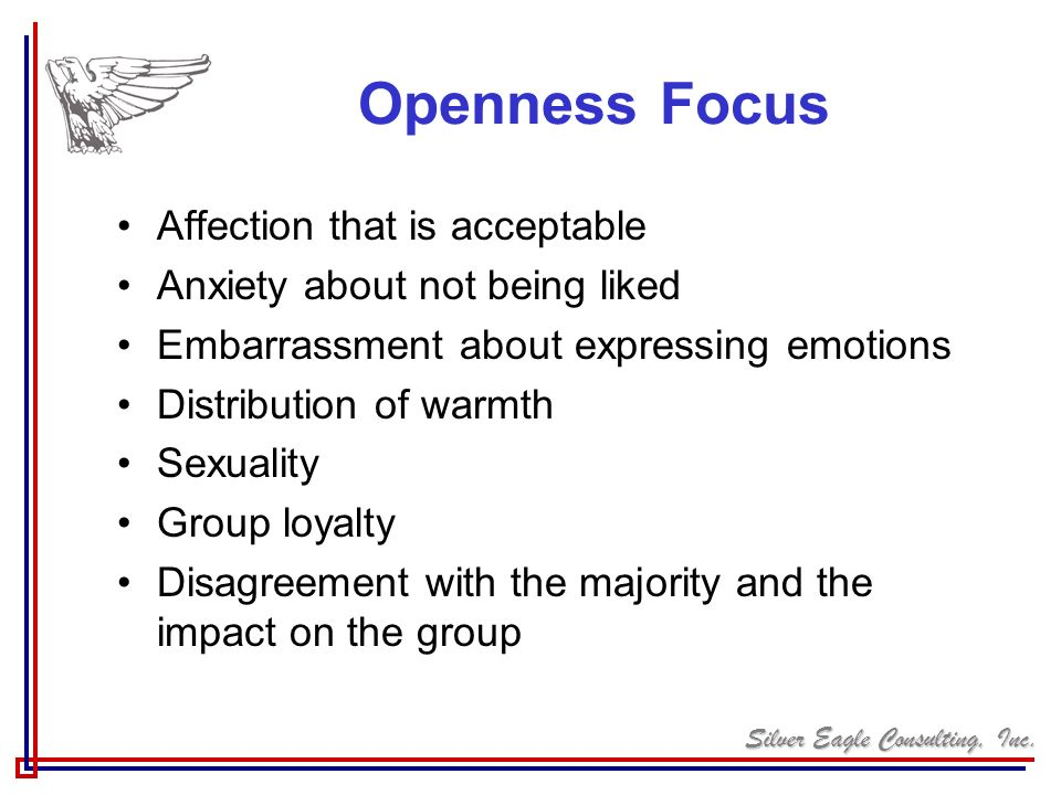 Openness Focus Affection that is acceptable