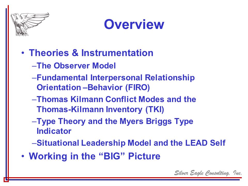 Overview Theories & Instrumentation Working in the BIG Picture