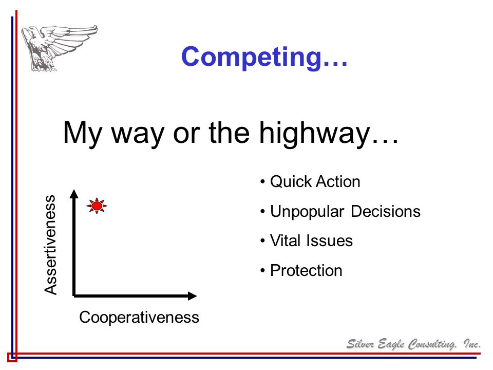 My way or the highway… Competing… Quick Action Unpopular Decisions