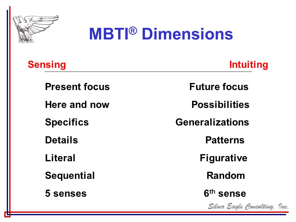 MBTI® Dimensions Sensing Intuiting Present focus Future focus