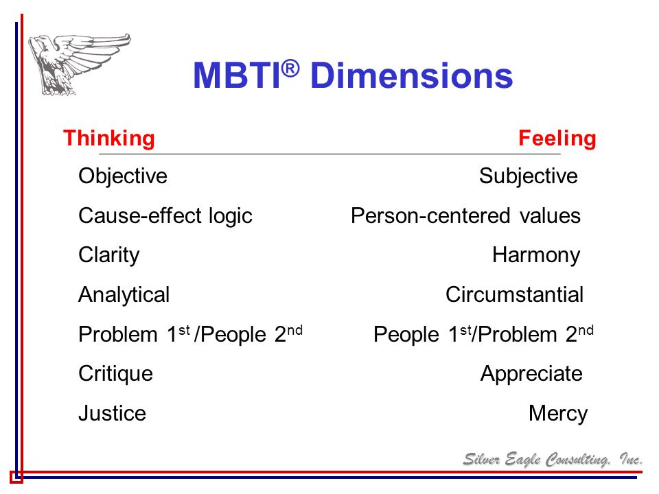 MBTI® Dimensions Thinking Feeling Objective Subjective