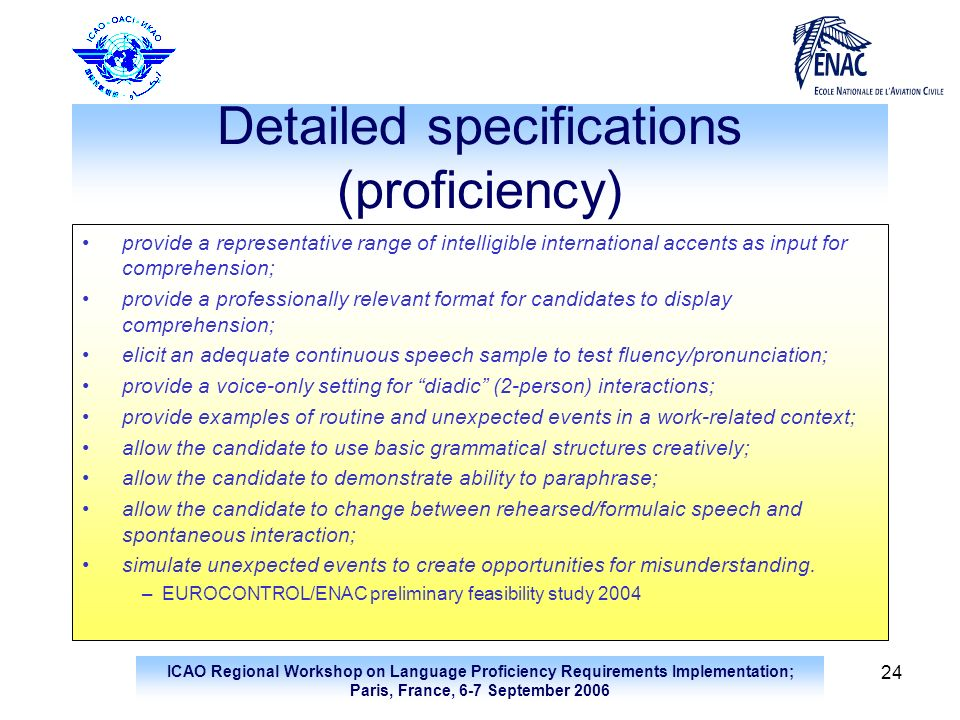Detailed specifications (proficiency)