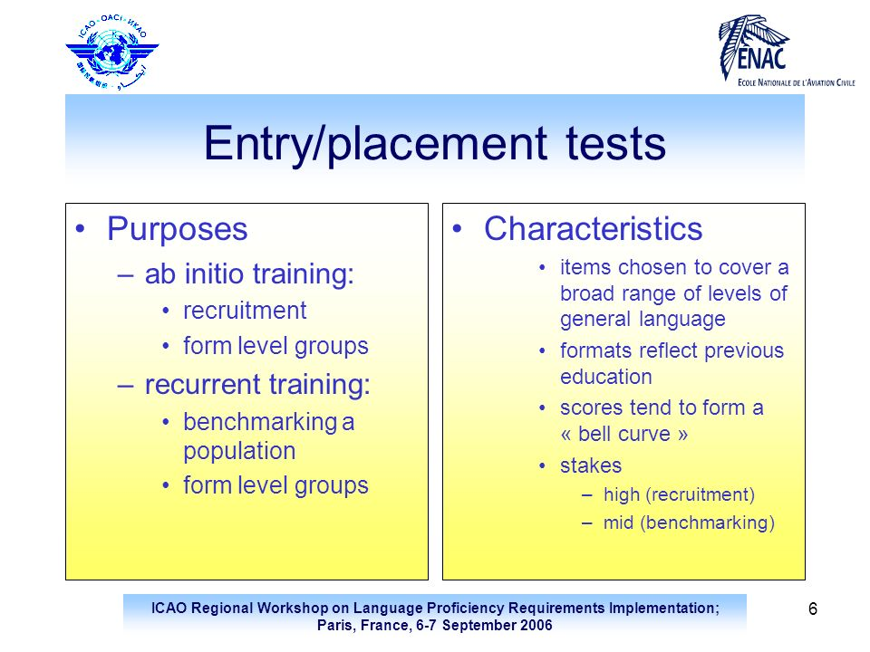 Entry/placement tests