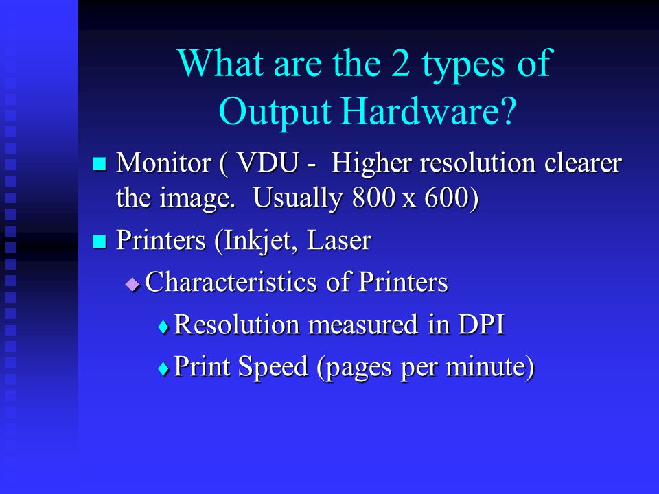 What are the 2 types of Output Hardware