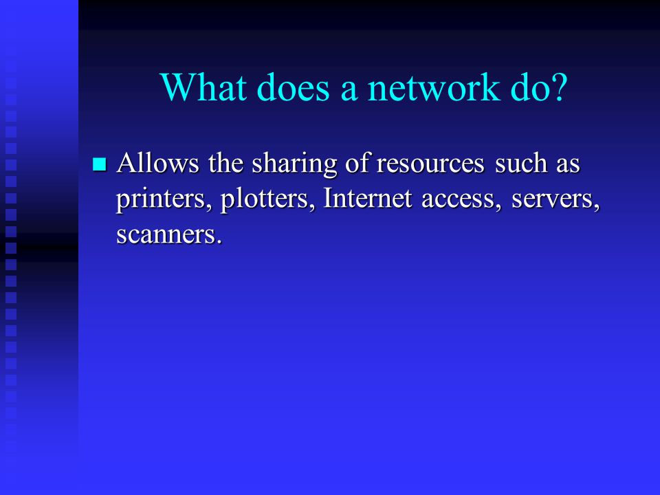 What does a network do.