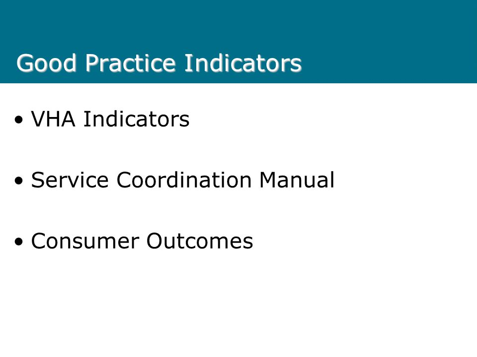 Good Practice Indicators