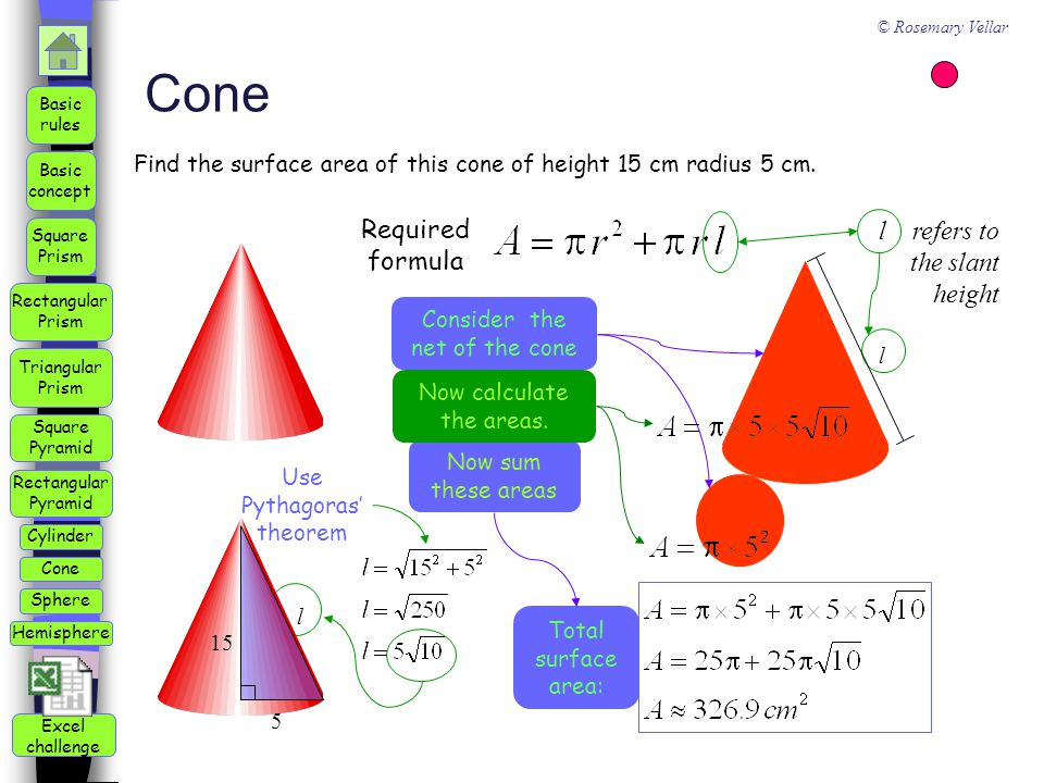 Cone Required formula l refers to the slant height
