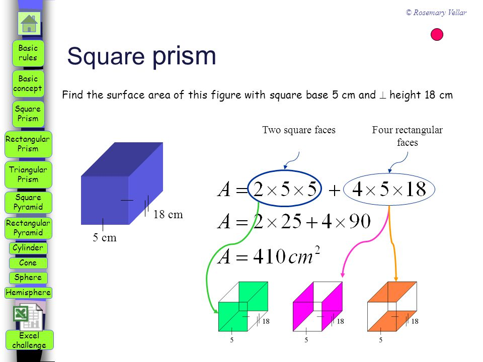 how to find length of base square based prism