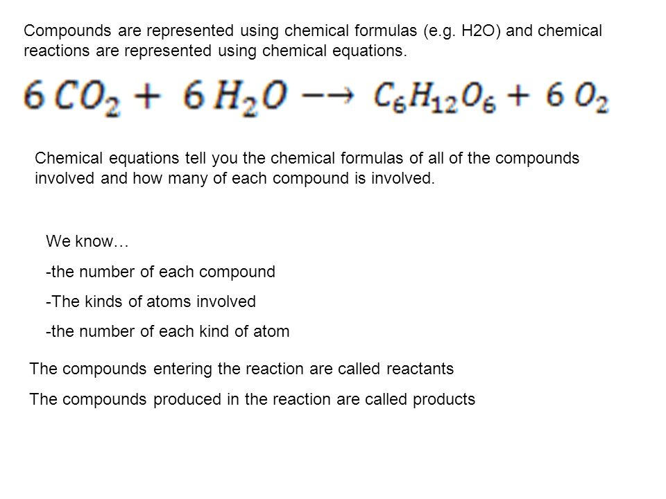 Compounds are represented using chemical formulas (e. g