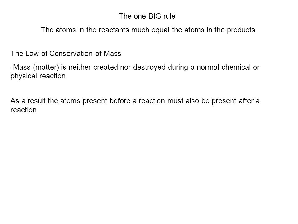 The atoms in the reactants much equal the atoms in the products