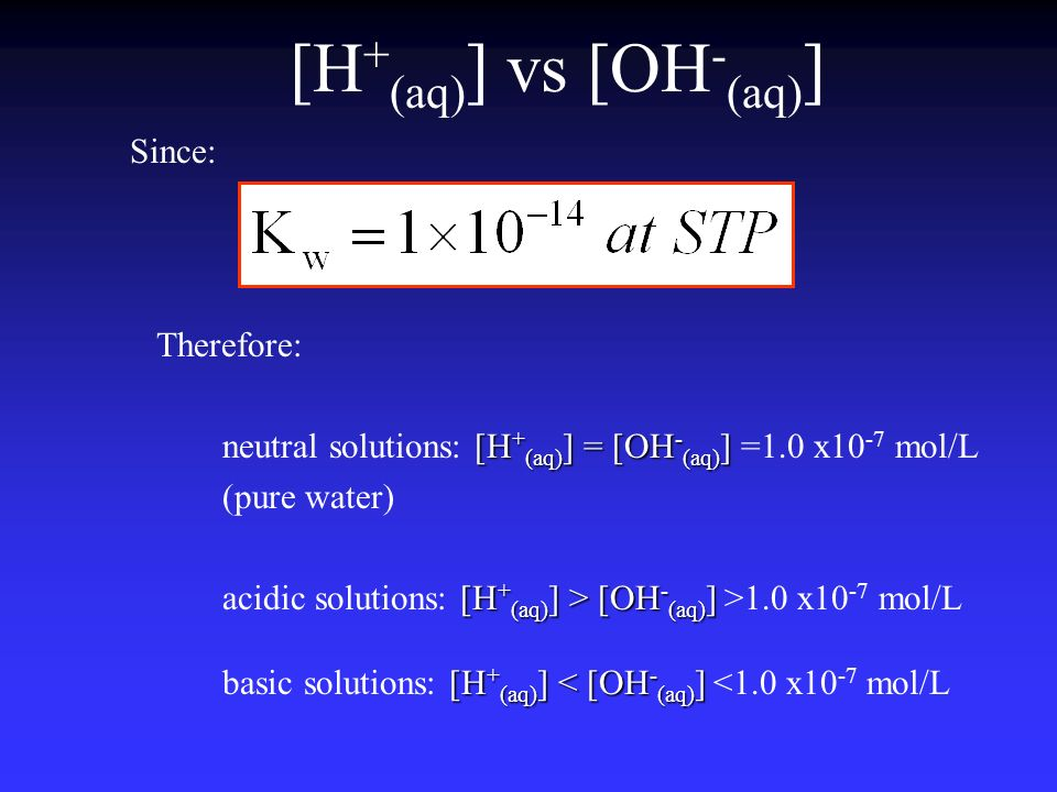 [H+(aq)] vs [OH-(aq)] Since: Therefore: neutral solutions: [H+(aq)] = [OH-(aq)] =1.0 x10-7 mol/L.