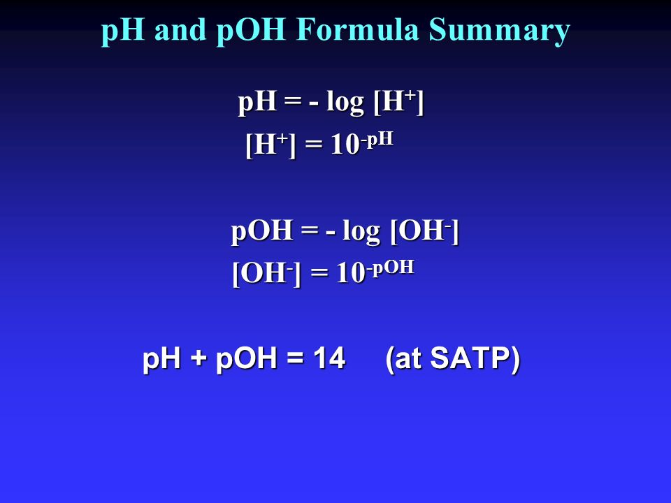 pH and pOH Formula Summary
