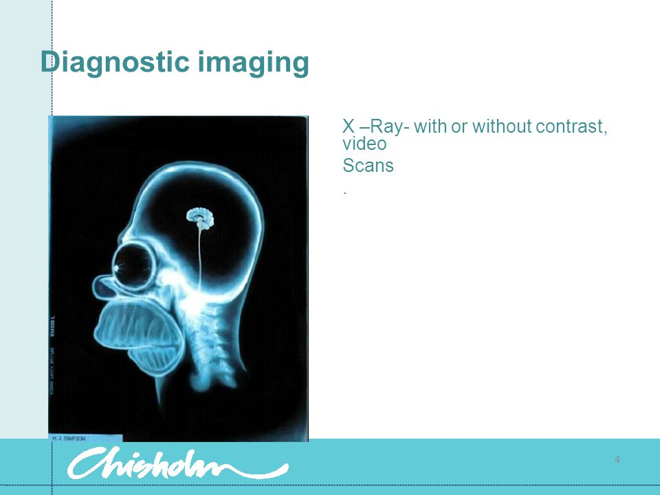 Diagnostic imaging X –Ray- with or without contrast, video Scans .