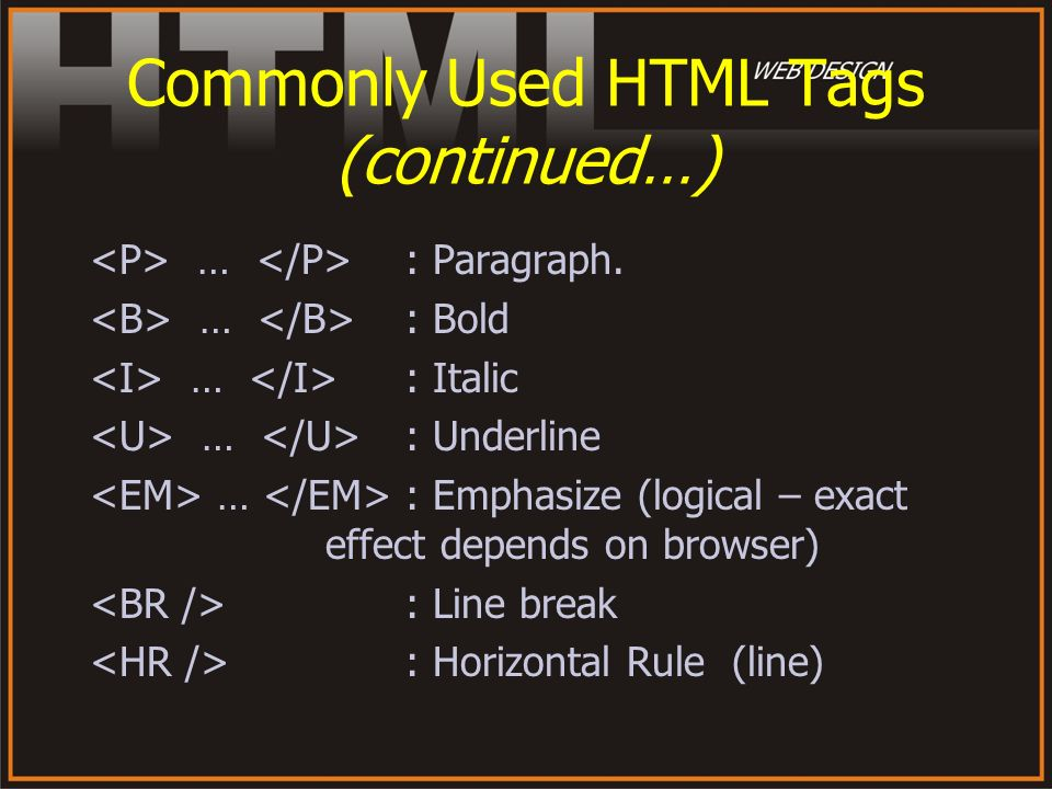 Commonly Used HTML Tags (continued…)