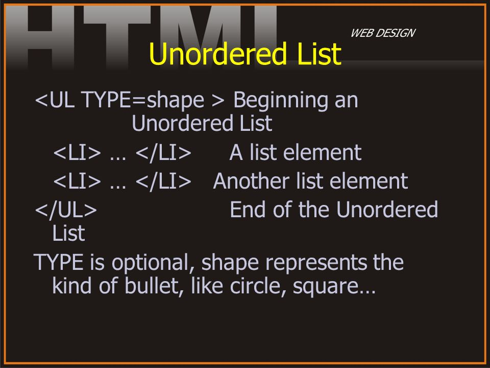 Unordered List <UL TYPE=shape > Beginning an Unordered List