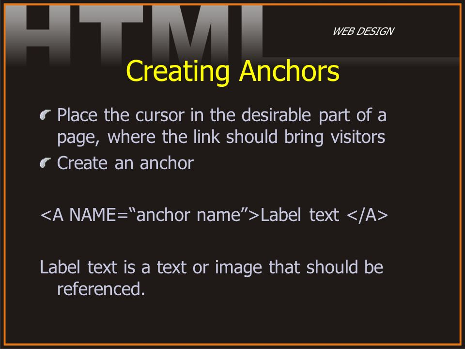 Creating Anchors Place the cursor in the desirable part of a page, where the link should bring visitors.
