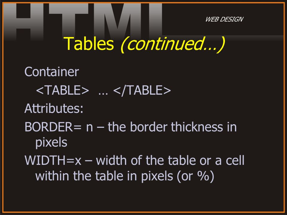 Tables (continued…) Container <TABLE> … </TABLE>