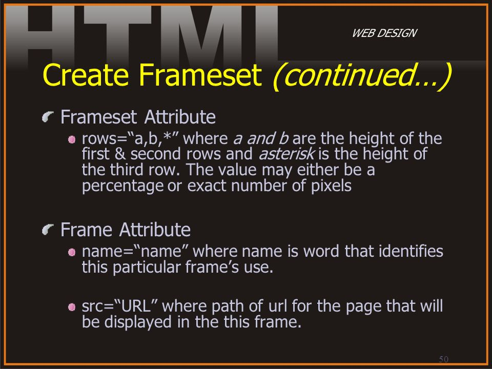 Create Frameset (continued…)