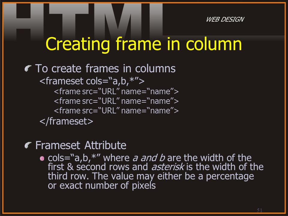 Creating frame in column