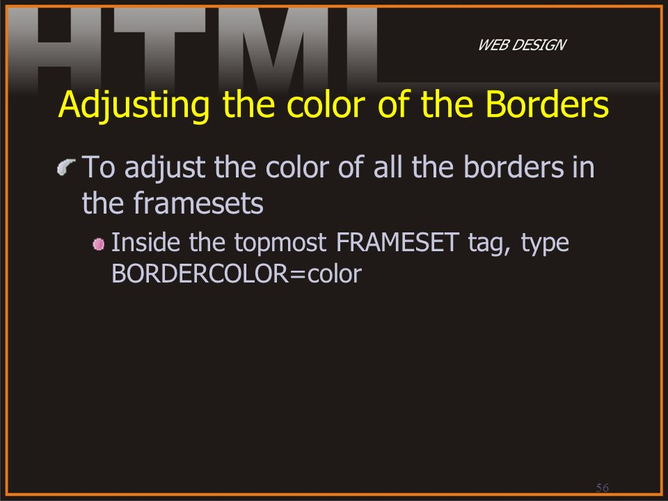 Adjusting the color of the Borders