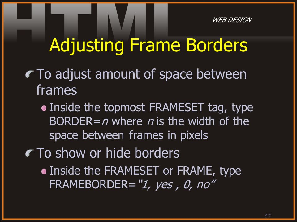 Adjusting Frame Borders