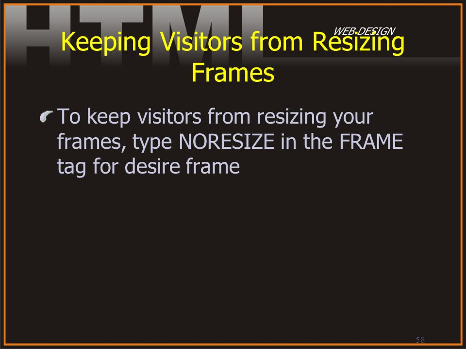 Keeping Visitors from Resizing Frames