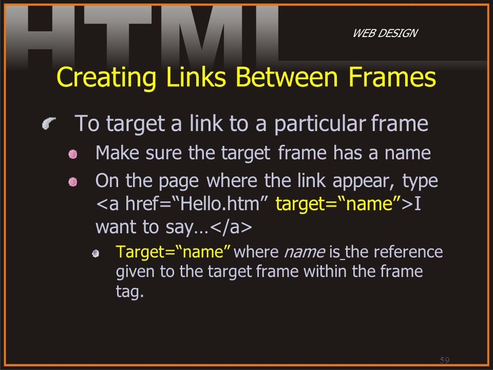 Creating Links Between Frames