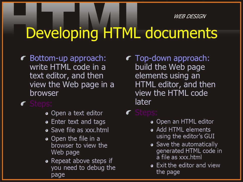 Developing HTML documents
