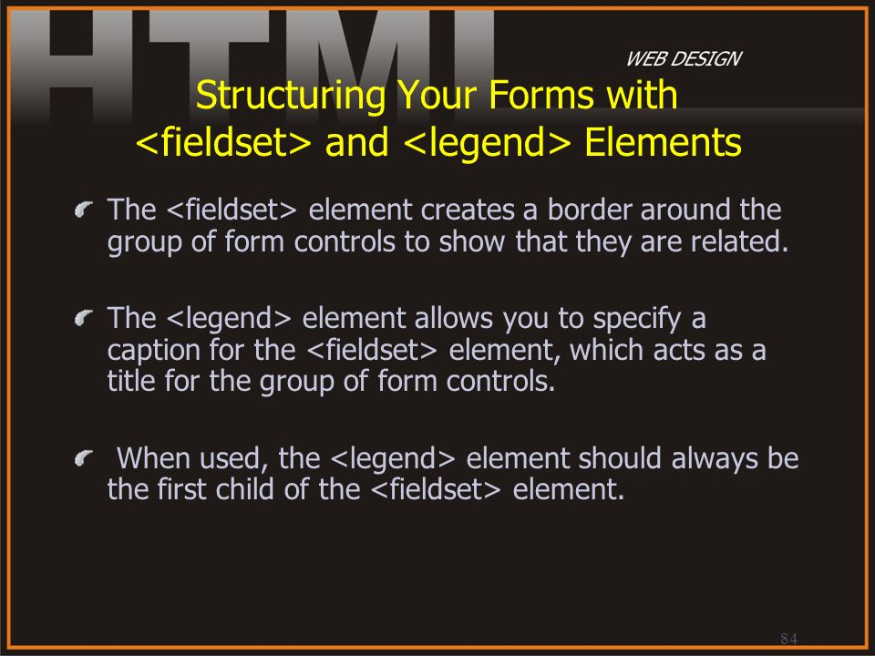 Structuring Your Forms with <fieldset> and <legend> Elements